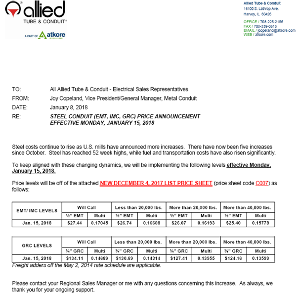 Steel Price Increase 1/15/18 - General News - News | Atkore