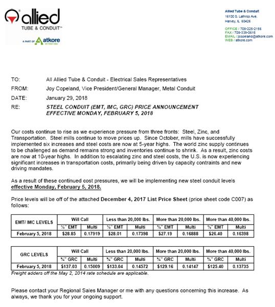 Steel conduit price increase 2518 general news news atkore steelpriceincrease020518 thecheapjerseys Choice Image